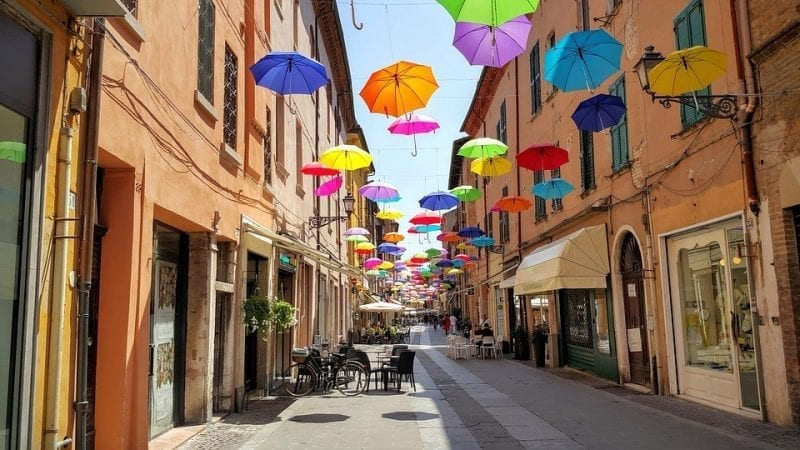 A colourful street in Italy